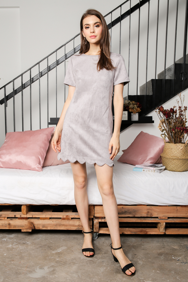 Lily Suede Shift Dress in Grey