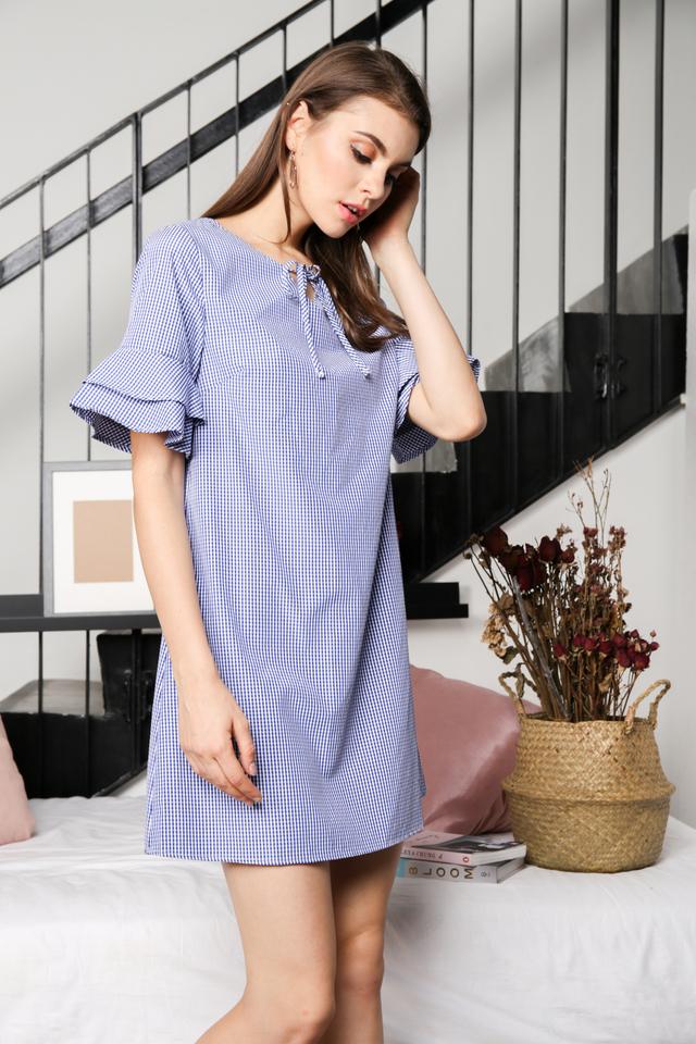 Kaylee Gingham Shift Dress in Blue