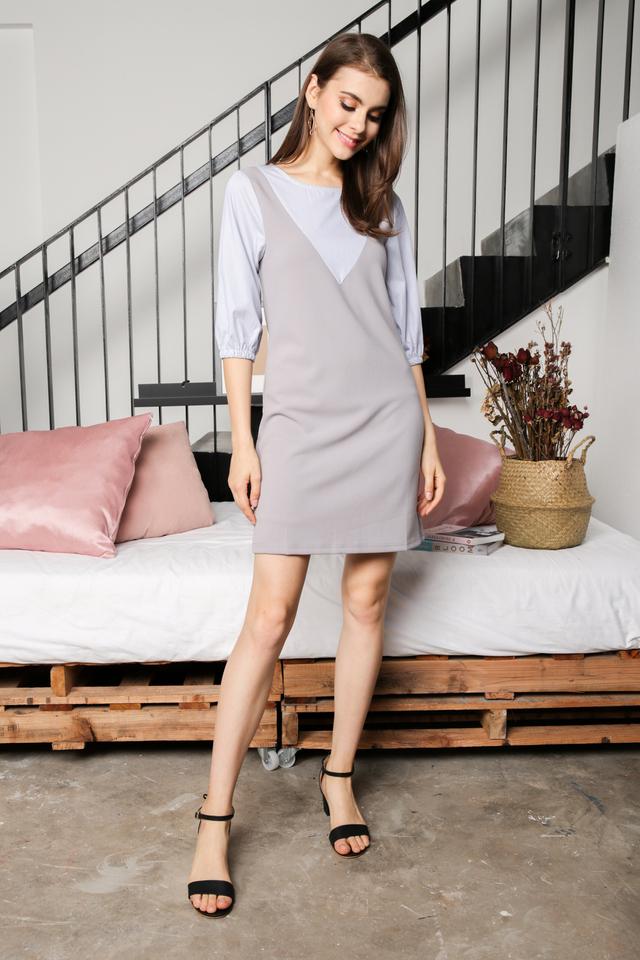 Belva Faux Pinafore Dress in Grey