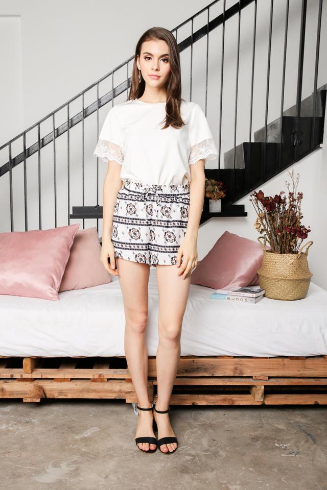 Adelina Boho Shorts in White