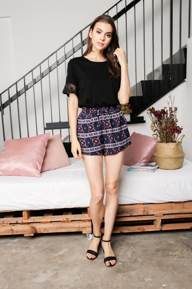 Alyssa Mesh Sleeve Top in Black