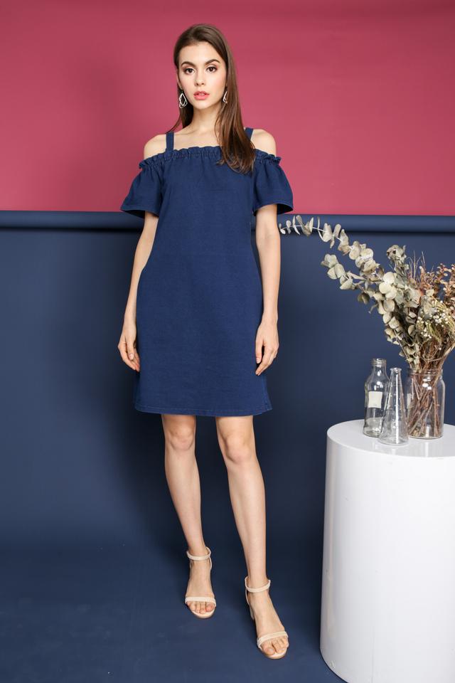 Hera Cold Shoulder Dress in Blue Denim