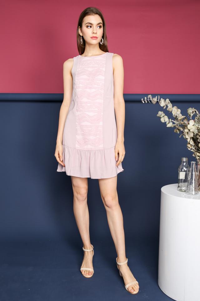 Kanya Lace Panel Dropwaist Dress in Pink
