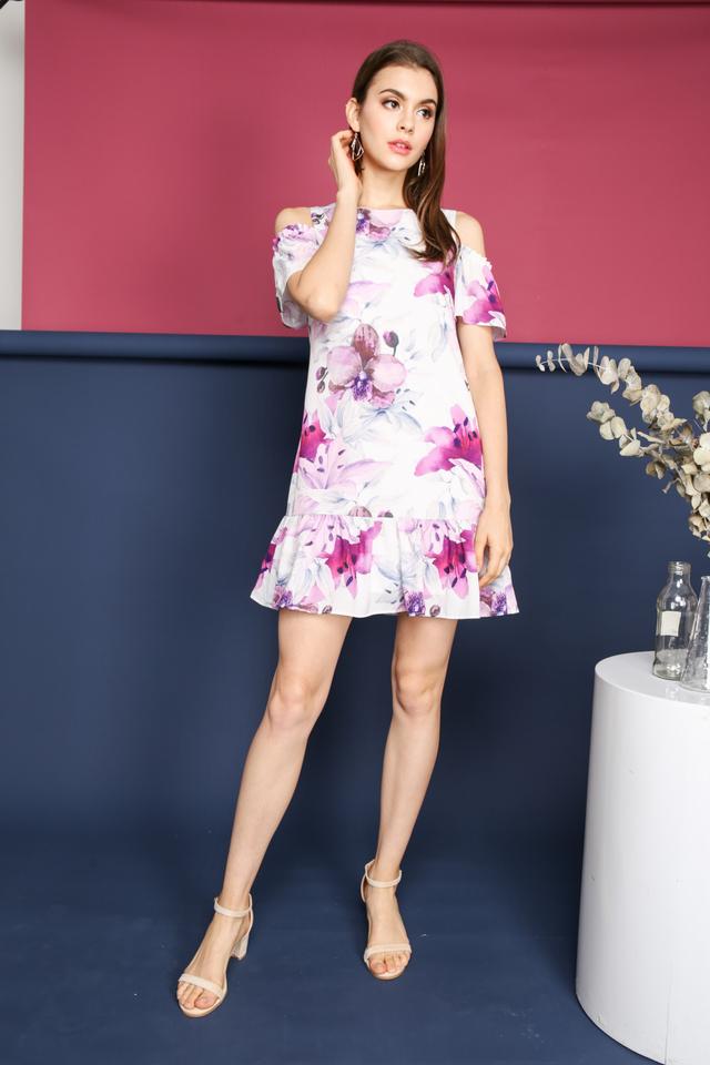 Jessa Cold Shoulder Dress in Purple (XS)
