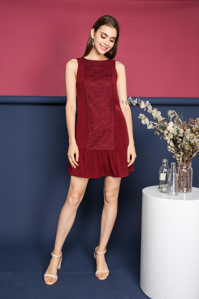 Kanya Lace Panel Dropwaist Dress in Wine
