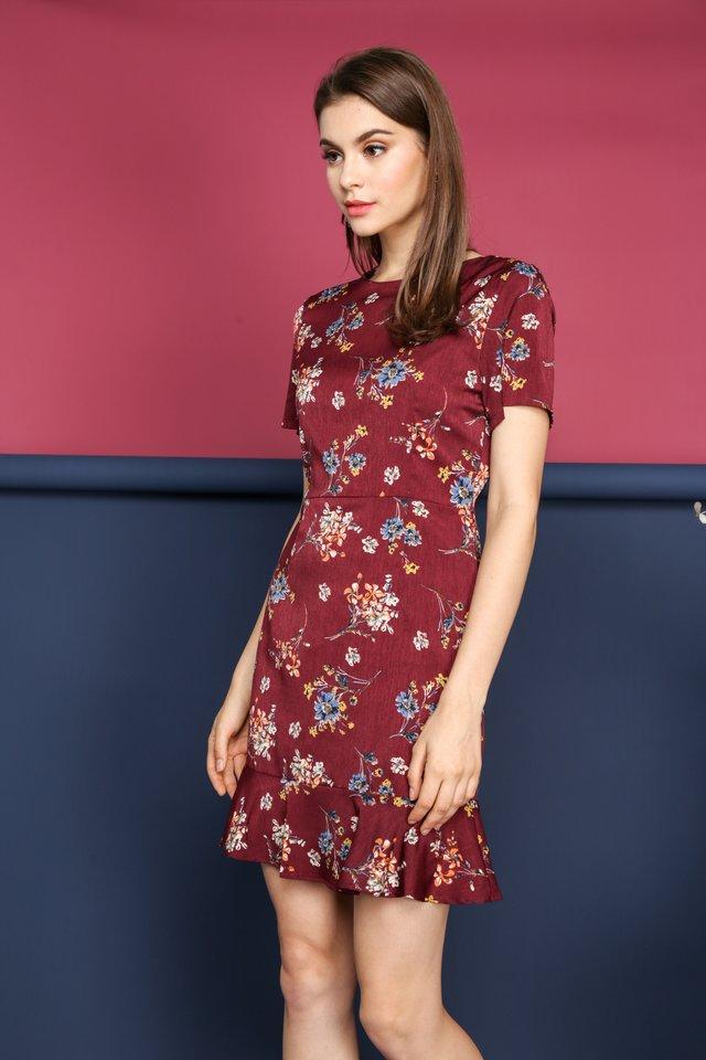 Lea Floral Dropwaist Dress in Maroon