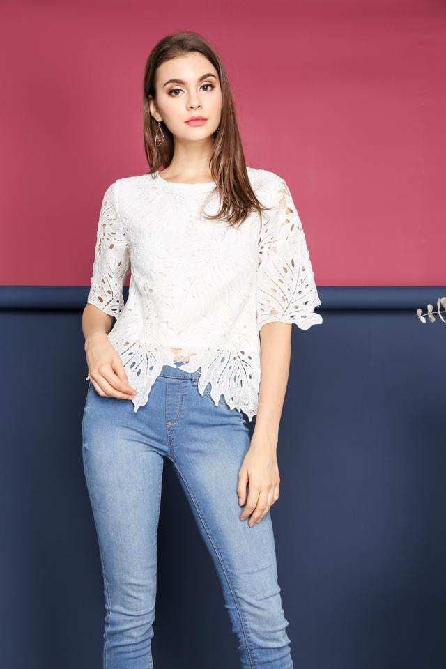 Imelda Crochet Leaf Top in White