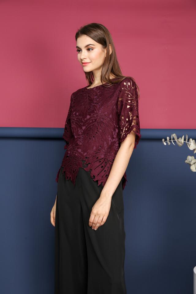 Imelda Crochet Leaf Top in Plum