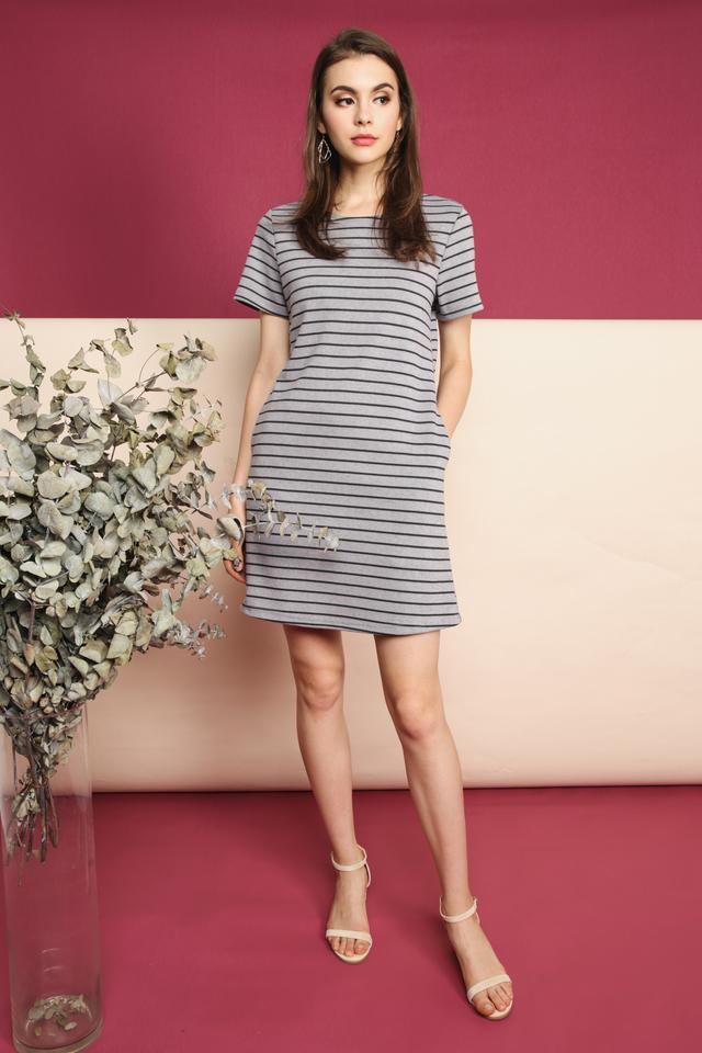 Nadia Pocket Casual Dress in Grey (L)