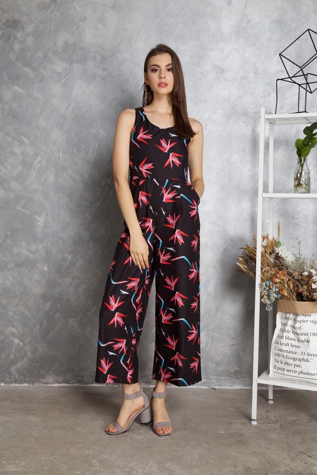 Keisha Floral Jumpsuit in Black