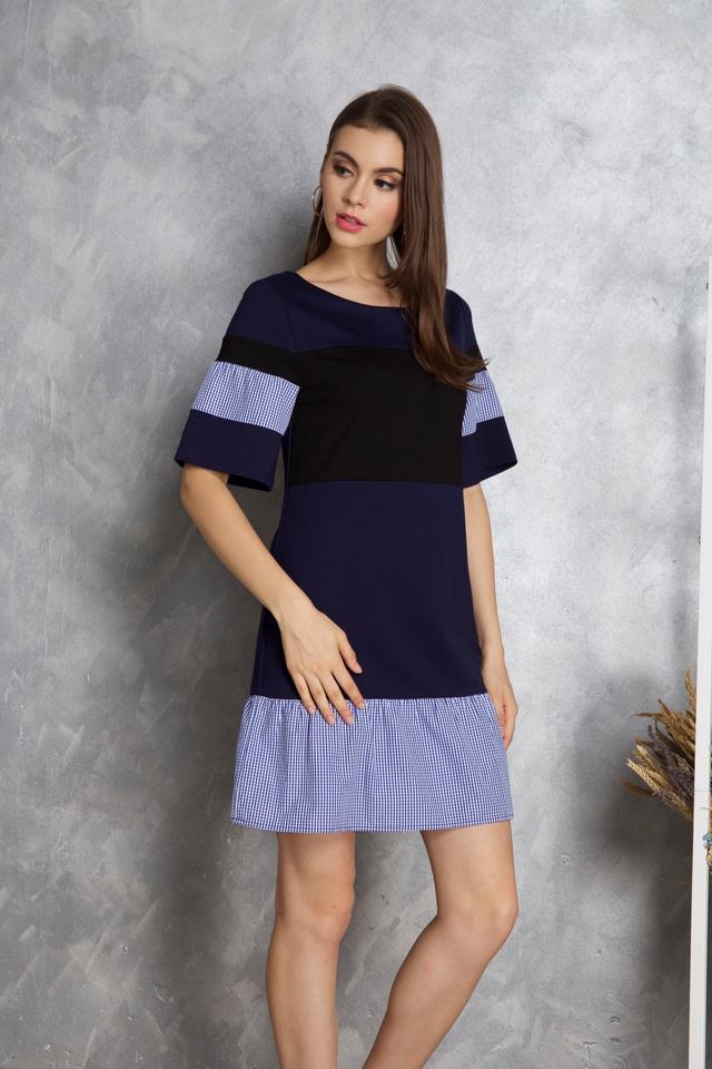 Maia Colourblock Gingham Dress in Navy Blue (XS)