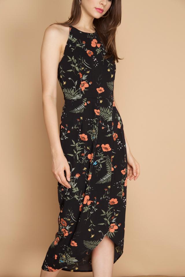 Carin Pleated Midi Wrap Dress in Black (L)