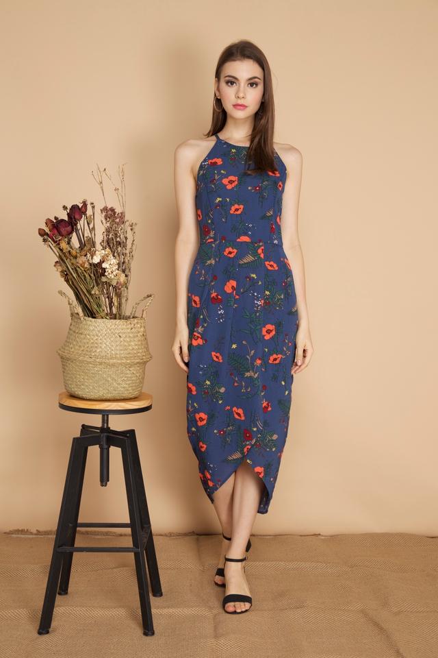 Carin Pleated Midi Wrap Dress in Blue (L)