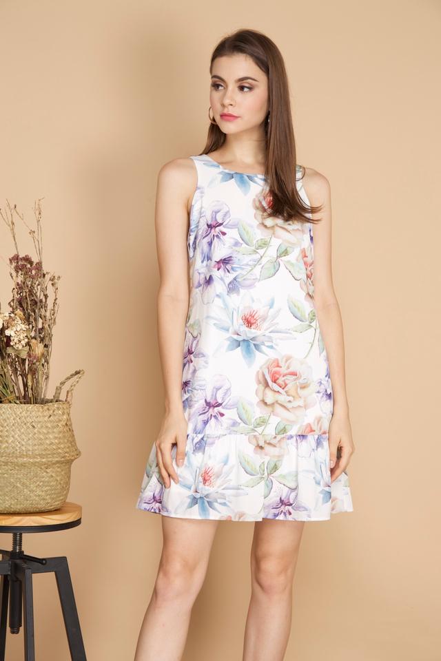 Dixie Floral Dropwaist Dress in White