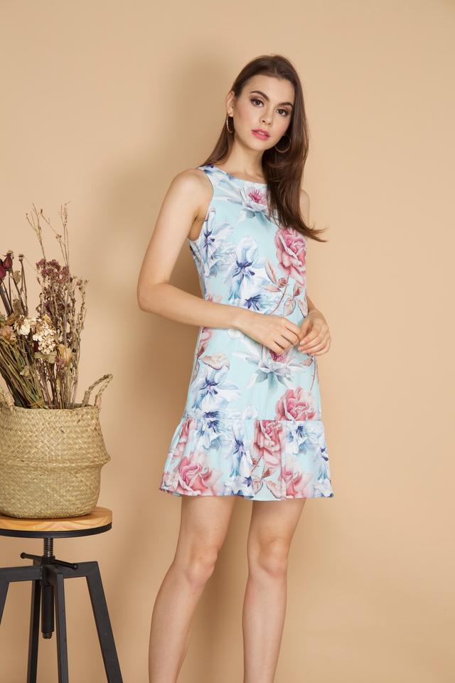 Dixie Floral Dropwaist Dress in Mint