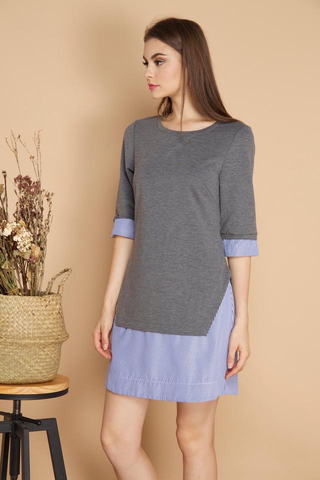 Yuna Stripe Hem Dress in Grey