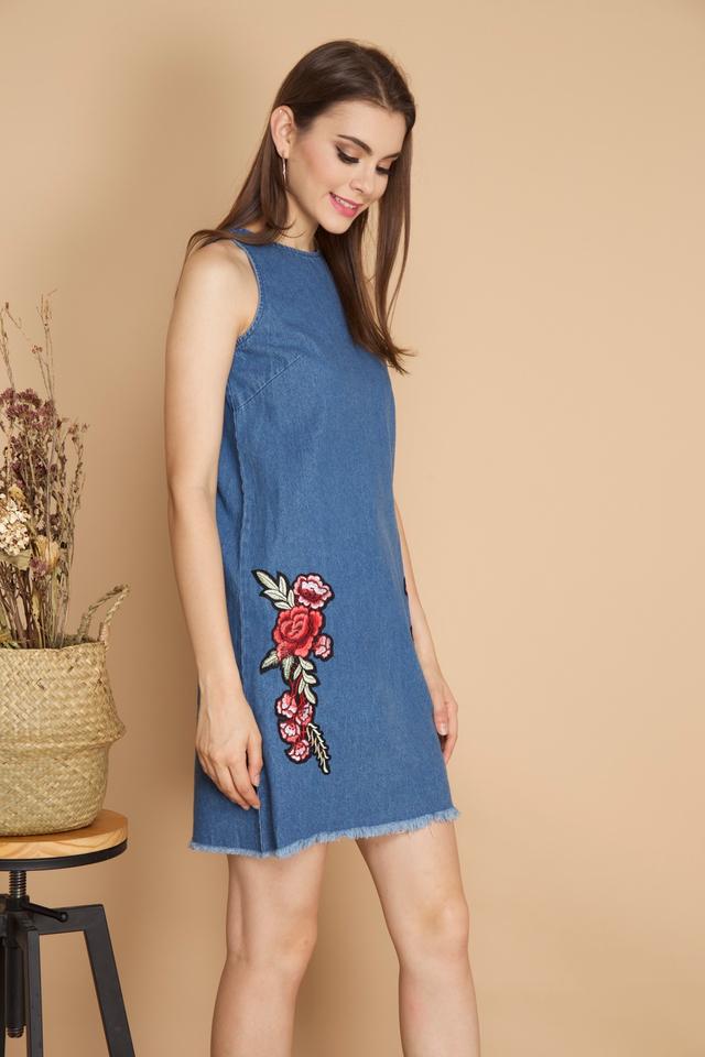 Elora Rose Patch Denim Dress in Dark Blue