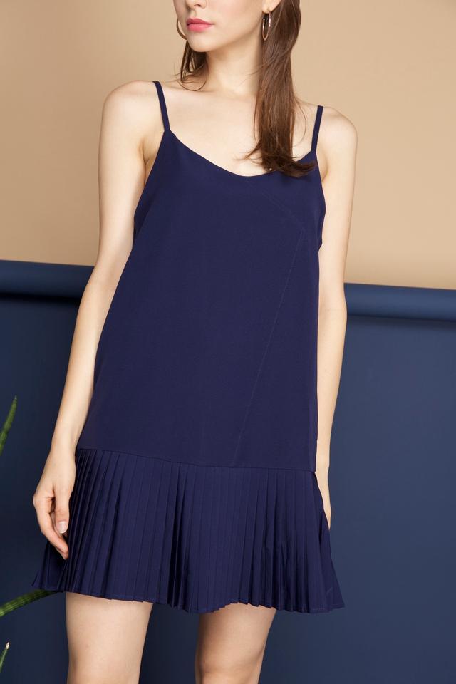 Bianca Two Piece Pleated Hem Dress in Blue (S)
