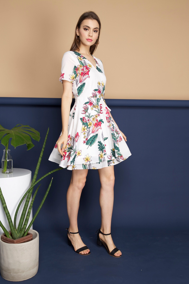 Sheila Floral Dress in White Tropicals