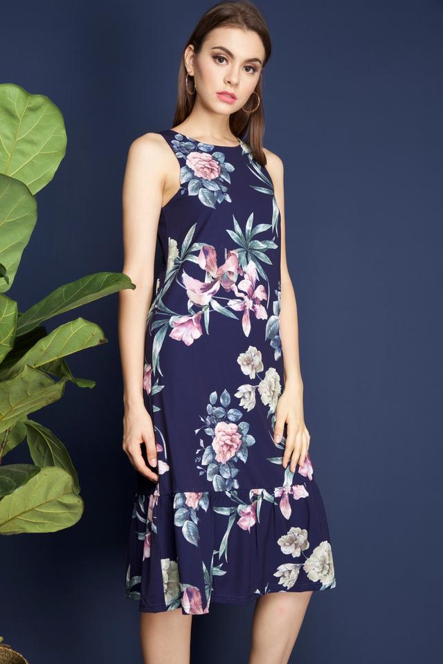 Vena Floral Midi Dress in Navy