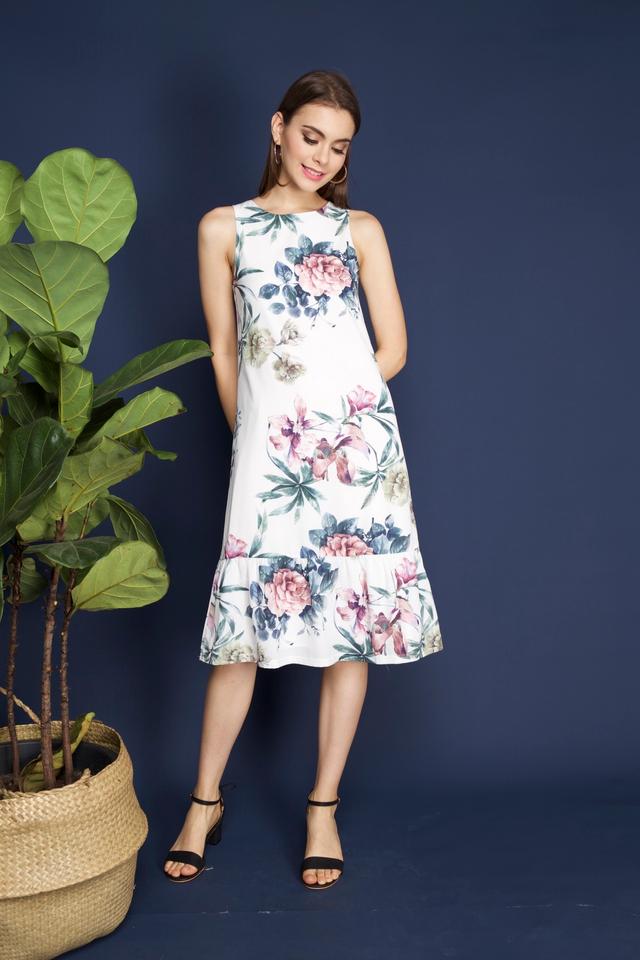 Vena Floral Midi Dress in White 3