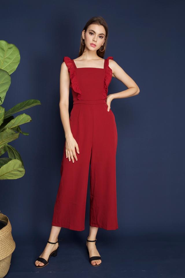 Tanisha Ruffled Jumpsuit in Red
