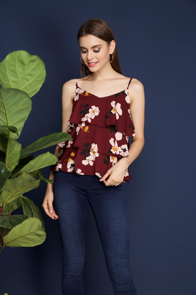 Fina Tiered Camisole in Maroon