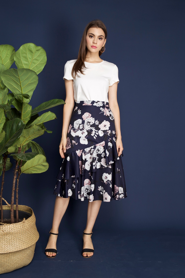 Shantel Floral Tiered Midi Skirt in Navy