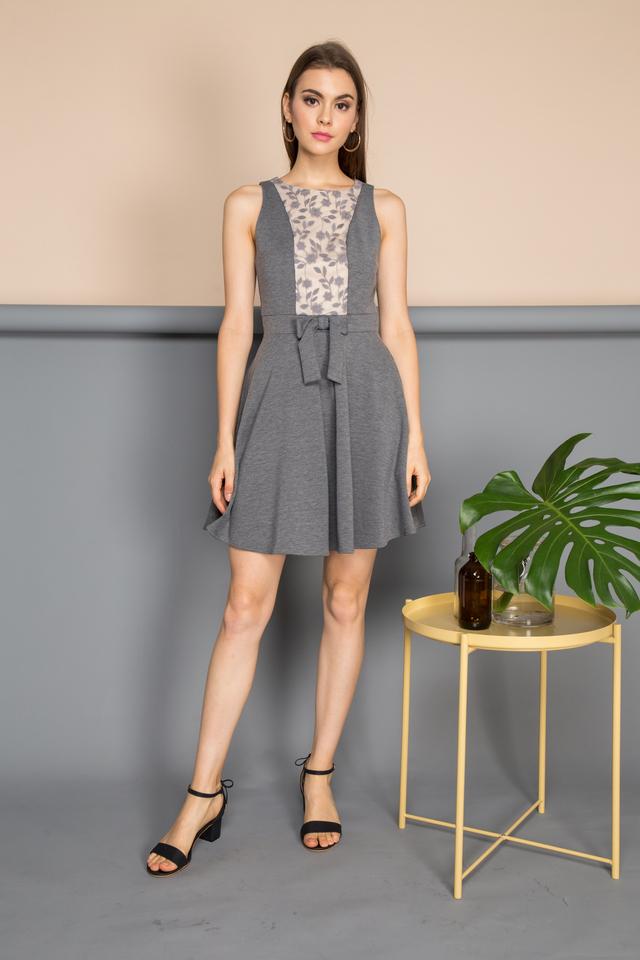 Xenia Front Ribbon Dress in Grey