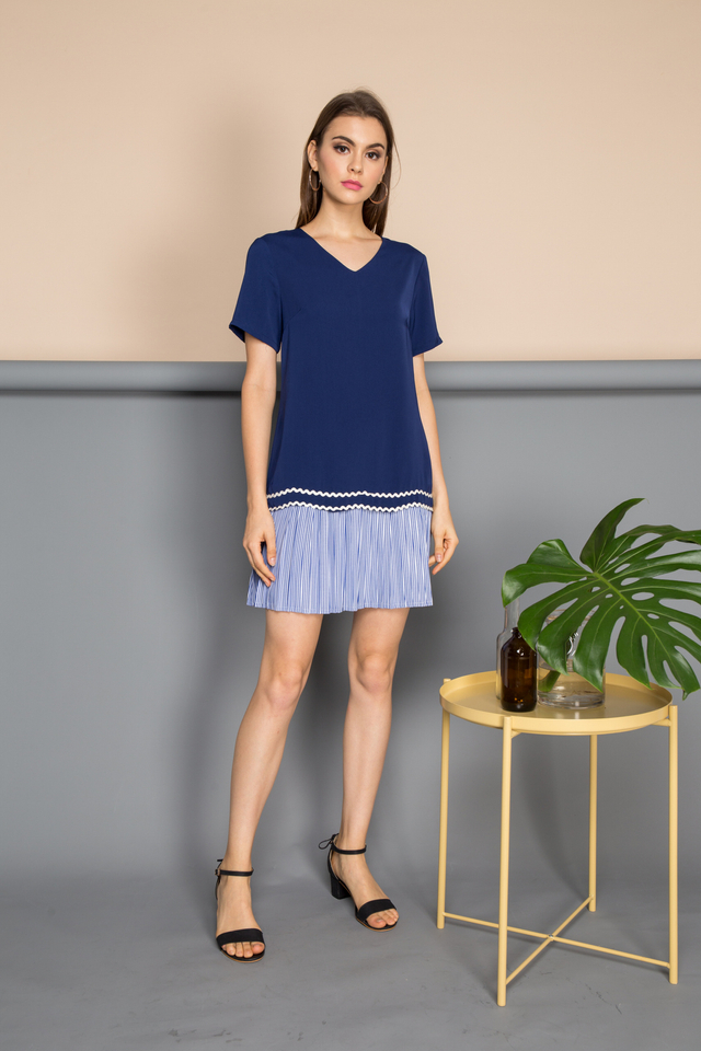 Noa Layered Pleated Striped Dress in Navy