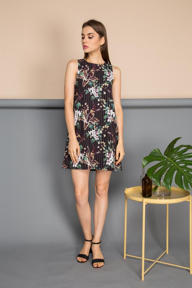 Eliska Floral Pinstripes Dress in Black