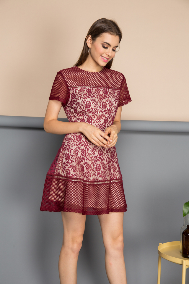Amber Romance Lace Dress in Maroon