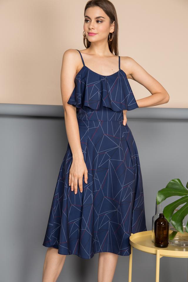 Ivana Ruffles Line Dress in Navy (L)