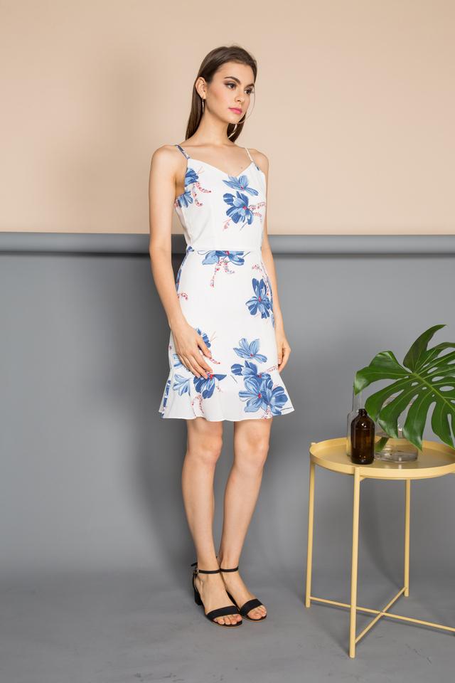 Eugenia V Neck Floral Dress in White