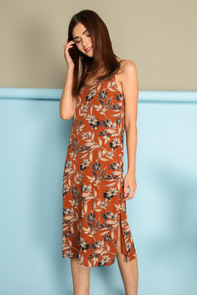 Cerelia Slip On Midi Dress in Burnt Orange