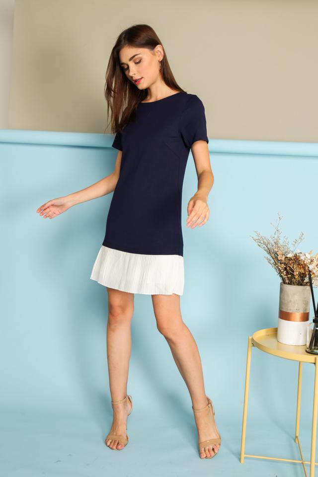 *BACKORDER* Calandra Pleated Hem Dress in Navy Blue