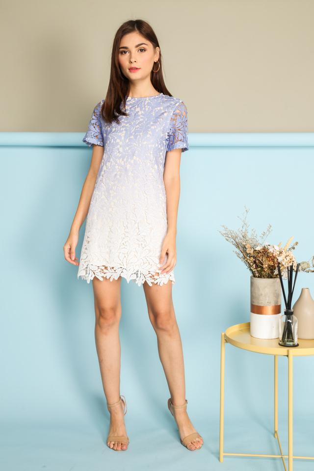 *BACKORDER* Alessia Ombre Crochet Dress in Periwinkle