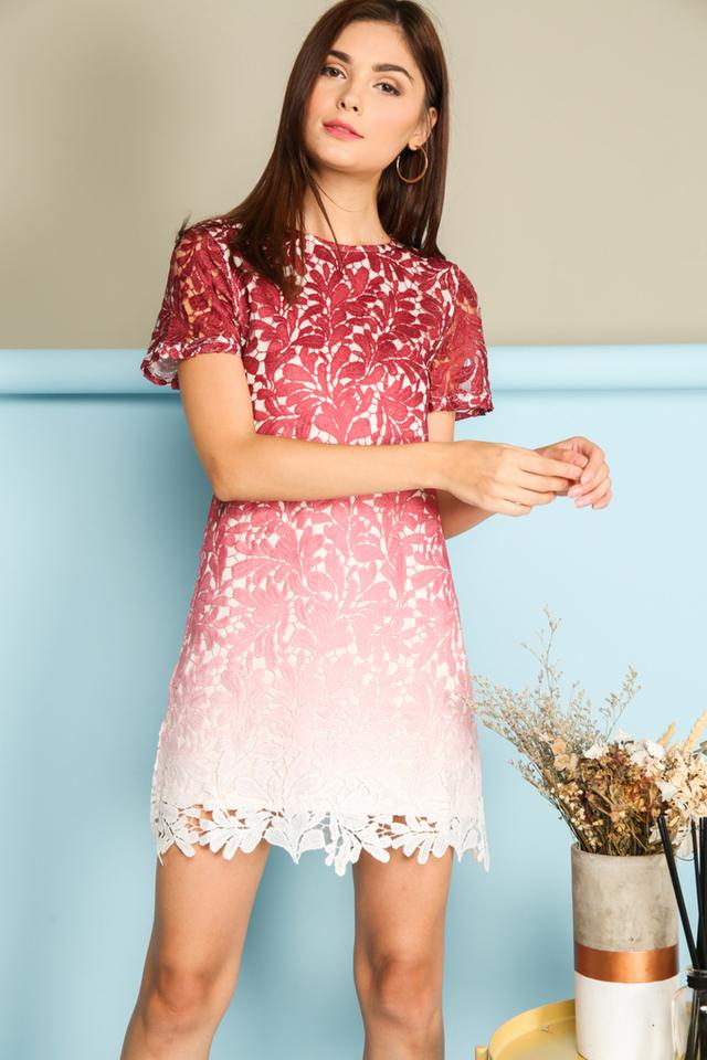 *BACKORDER* Alessia Ombre Crochet Dress in Maroon