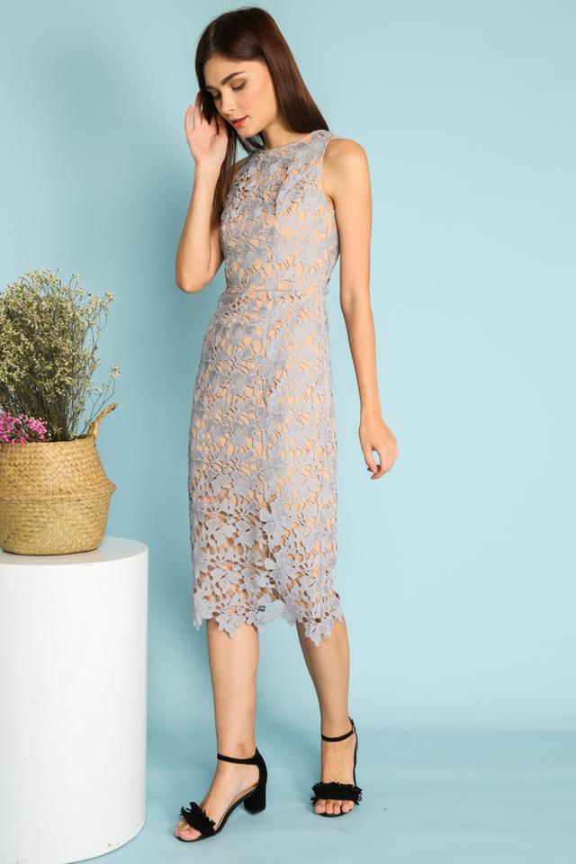 Sofia Midi Crochet Dress in Grey