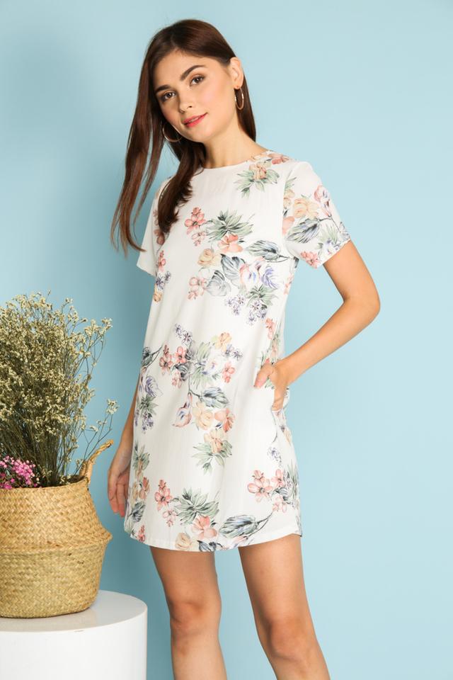 Francesca Multi Floral Shift Dress in White