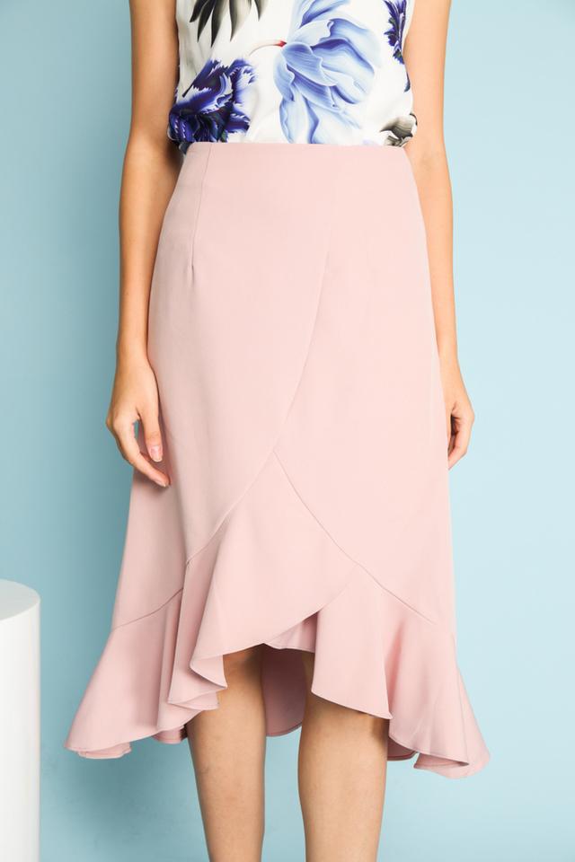 Serena Asymmetrical Ruffled Midi Skirt in Pink (L)