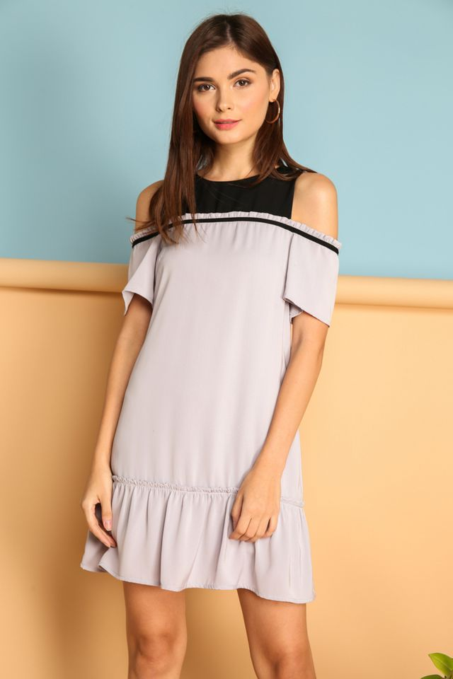 Ines Contrast Cold Shoulder Dress in Grey