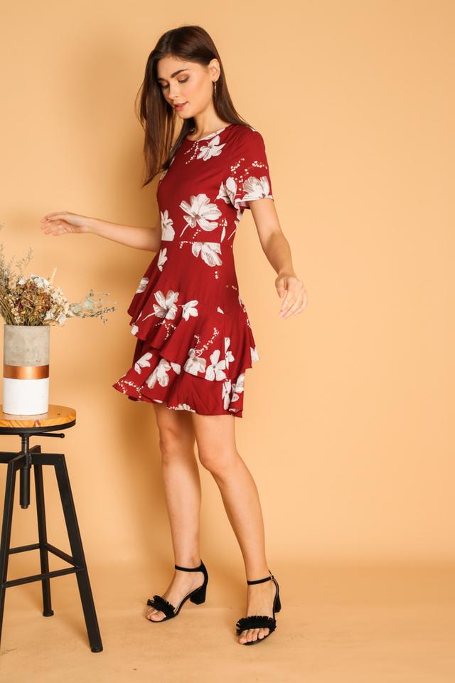 Nora Double Tier Ruffle Hem Dress in Red