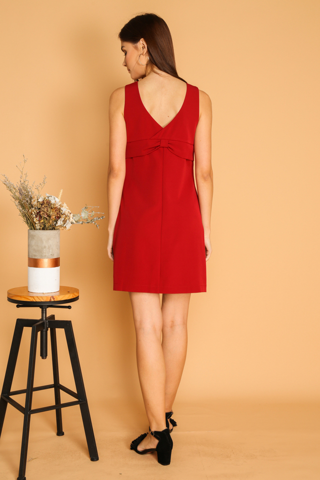 Helana Two Way Bow Dress in Red