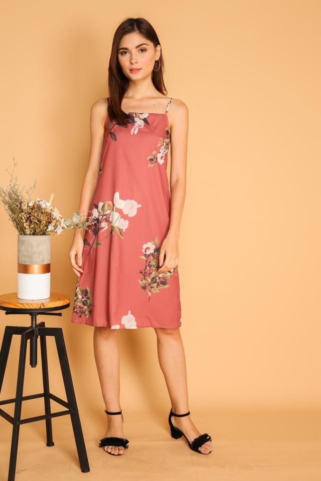 Roselyn Floral Slip On Dress in Coral Pink