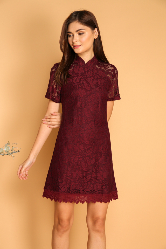 Dililah Qipao Lace Dress in Maroon