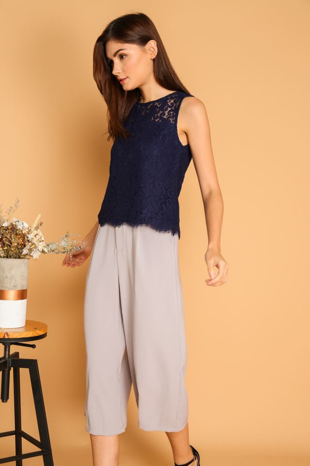 Rachelle Paisley Lace Top in Navy