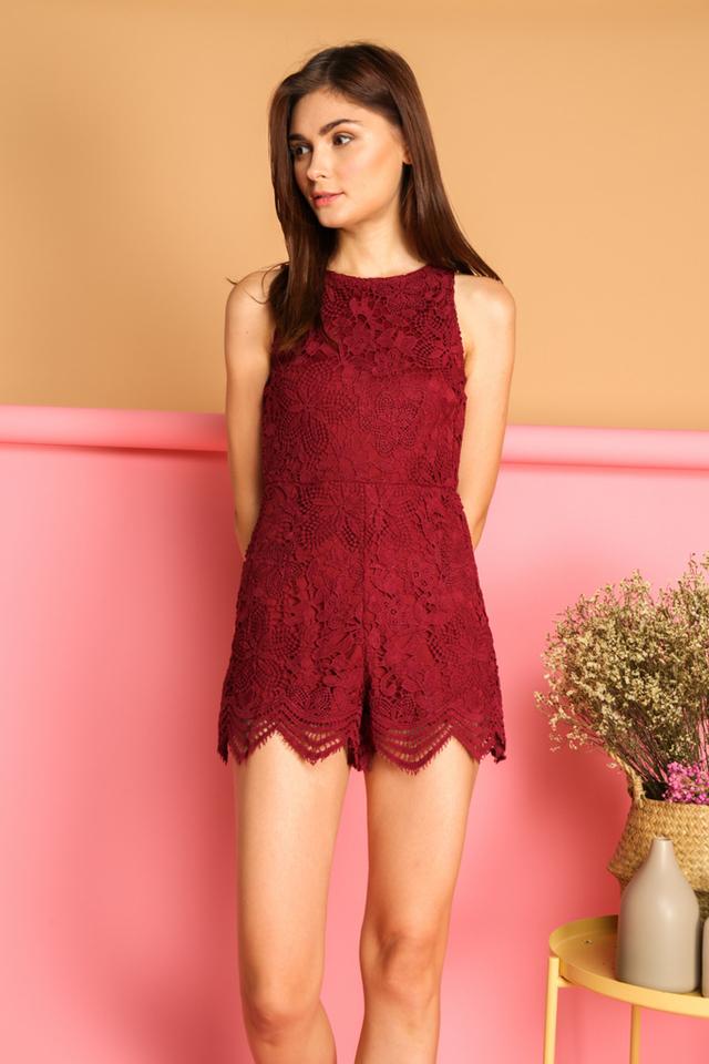 Alandra Crochet Romper in Maroon