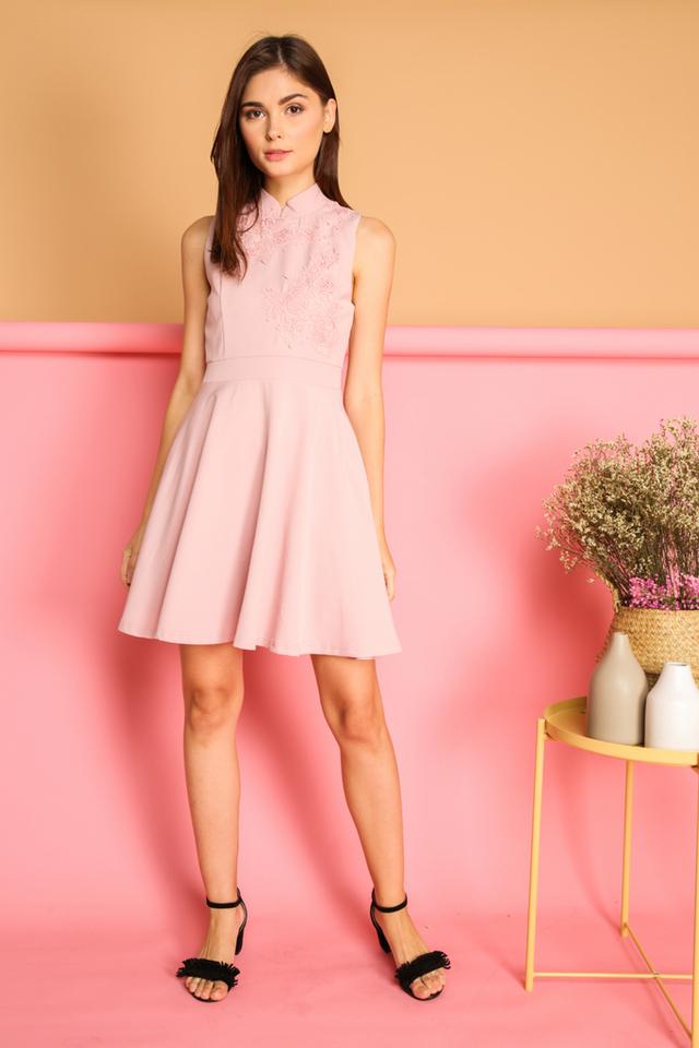 Calinda Oriental Crochet Dress in Pink