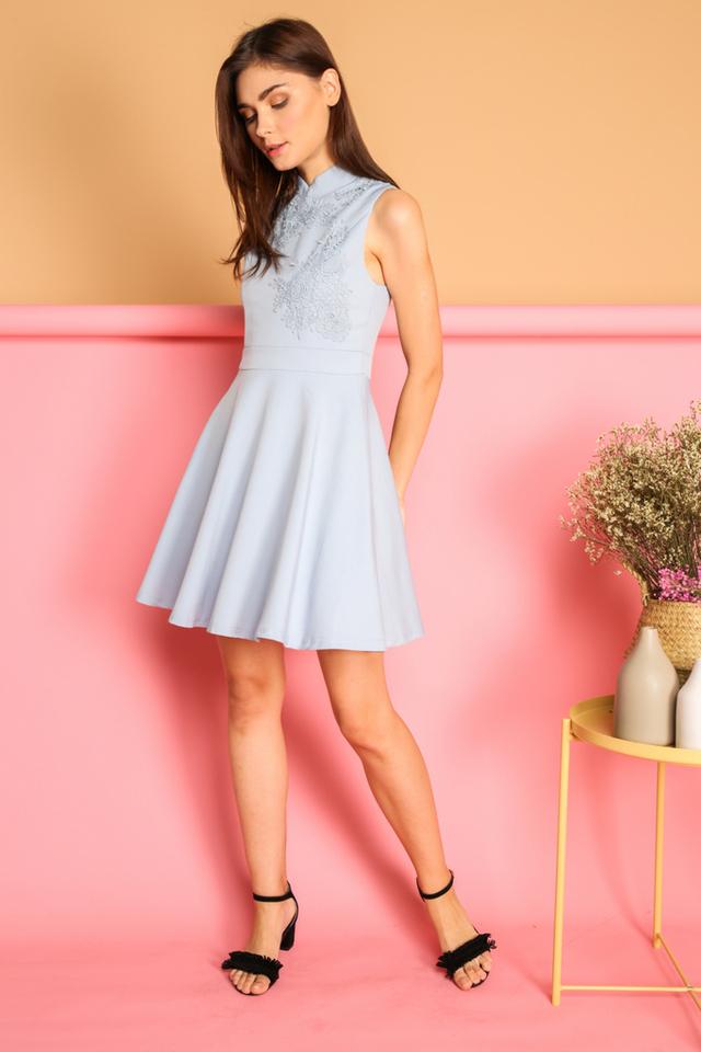 Calinda Oriental Crochet Dress in Blue